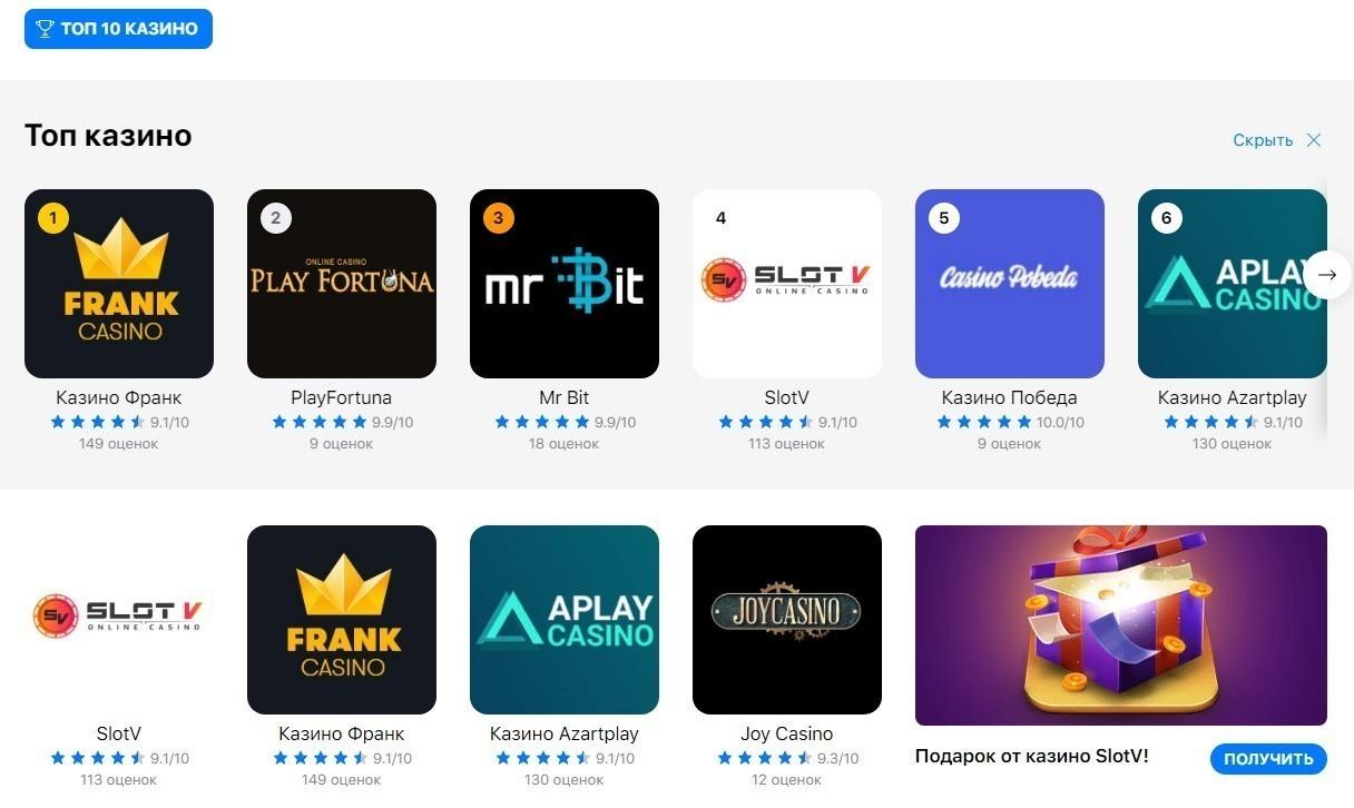 официальный сайт рейтинг онлайн казино 2107
